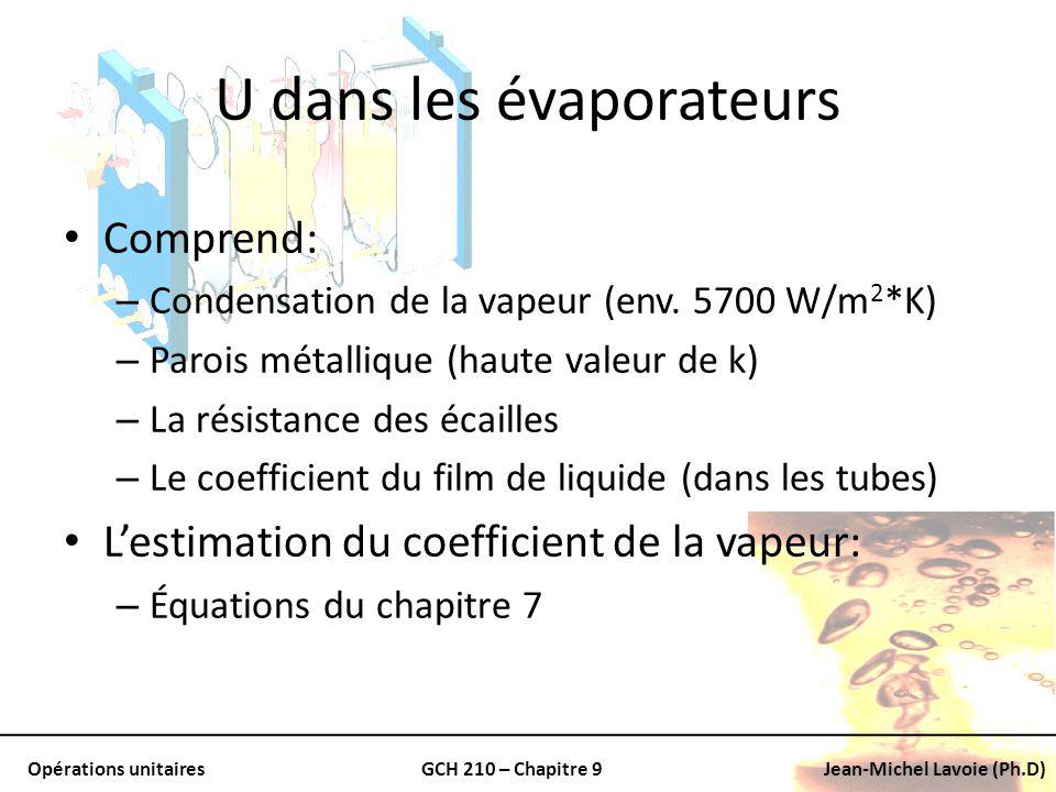 Opérations unitairesGCH 210 – Chapitre 9Jean-Michel Lavoie (Ph.D) U dans les évaporateurs Comprend: – Condensation de la vapeur (env. 5700 W/m 2 *K) –