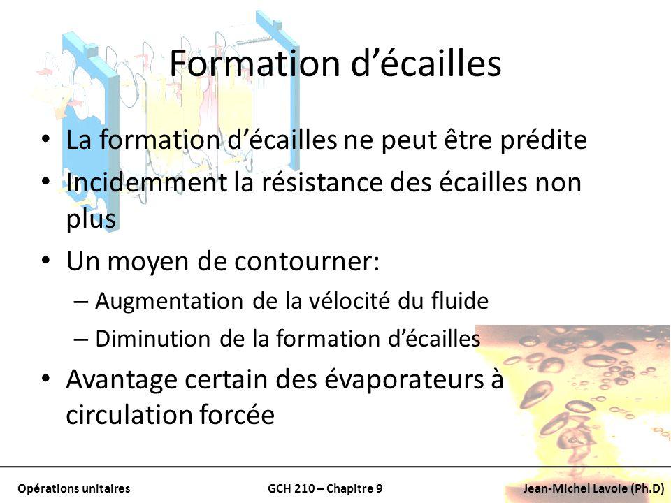 Opérations unitairesGCH 210 – Chapitre 9Jean-Michel Lavoie (Ph.D) Formation décailles La formation décailles ne peut être prédite Incidemment la résis