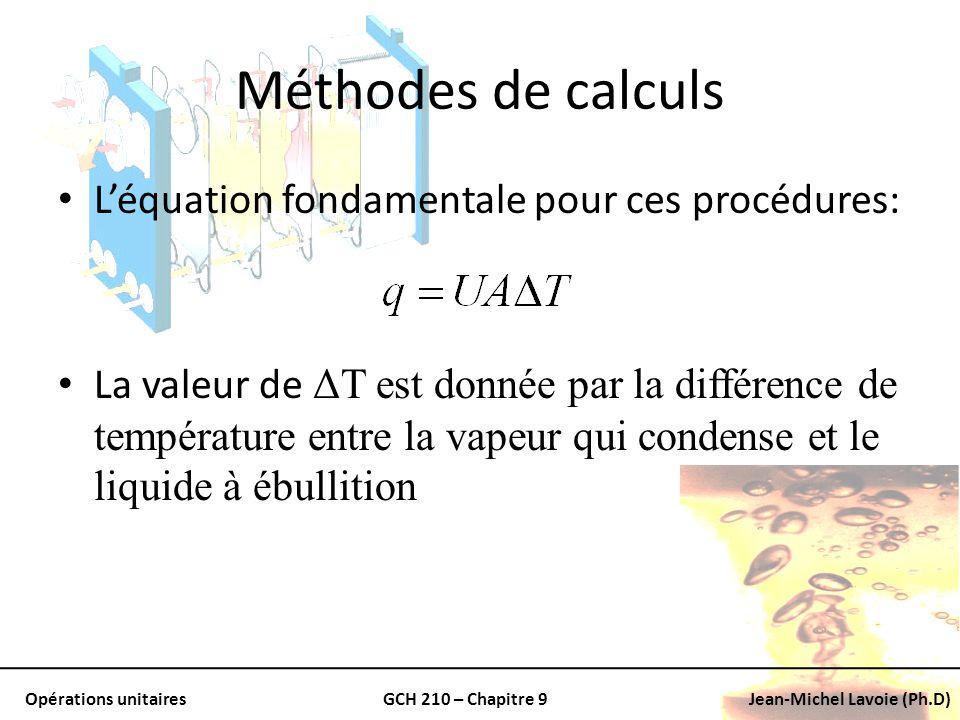 Opérations unitairesGCH 210 – Chapitre 9Jean-Michel Lavoie (Ph.D) Méthodes de calculs Léquation fondamentale pour ces procédures: La valeur de ΔT est