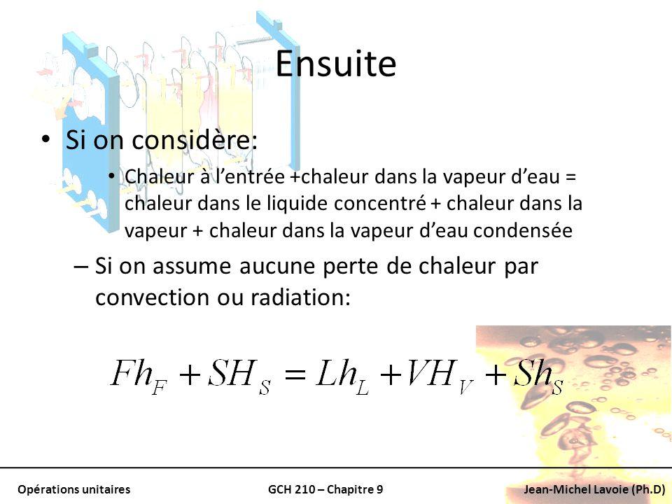 Opérations unitairesGCH 210 – Chapitre 9Jean-Michel Lavoie (Ph.D) Ensuite Si on considère: Chaleur à lentrée +chaleur dans la vapeur deau = chaleur da
