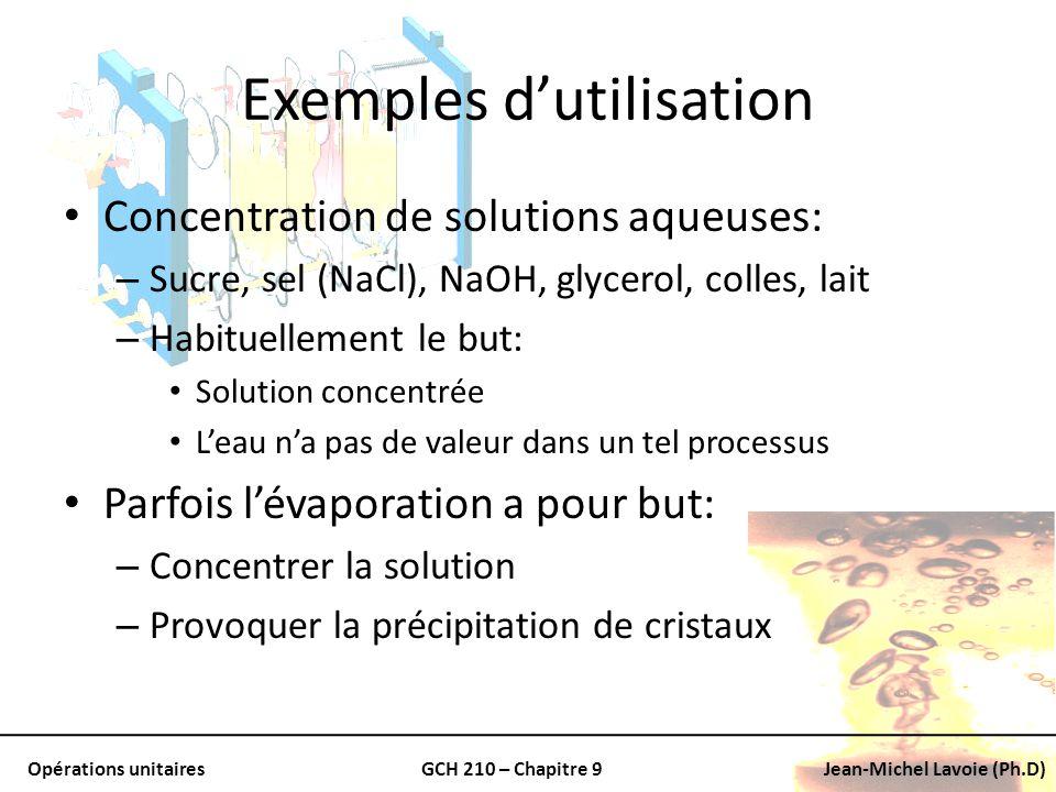 Opérations unitairesGCH 210 – Chapitre 9Jean-Michel Lavoie (Ph.D) Exemples dutilisation Concentration de solutions aqueuses: – Sucre, sel (NaCl), NaOH