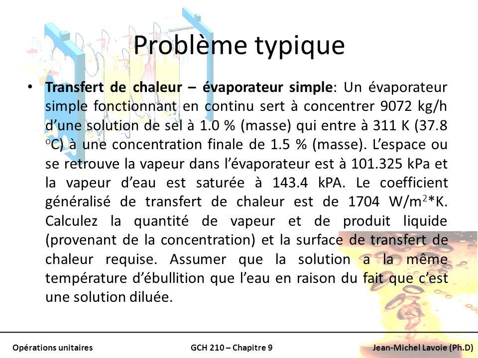 Opérations unitairesGCH 210 – Chapitre 9Jean-Michel Lavoie (Ph.D) Problème typique Transfert de chaleur – évaporateur simple: Un évaporateur simple fo