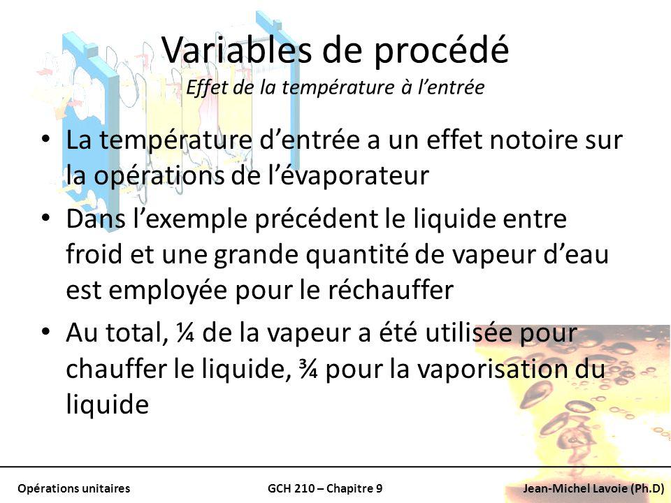 Opérations unitairesGCH 210 – Chapitre 9Jean-Michel Lavoie (Ph.D) Variables de procédé Effet de la température à lentrée La température dentrée a un e