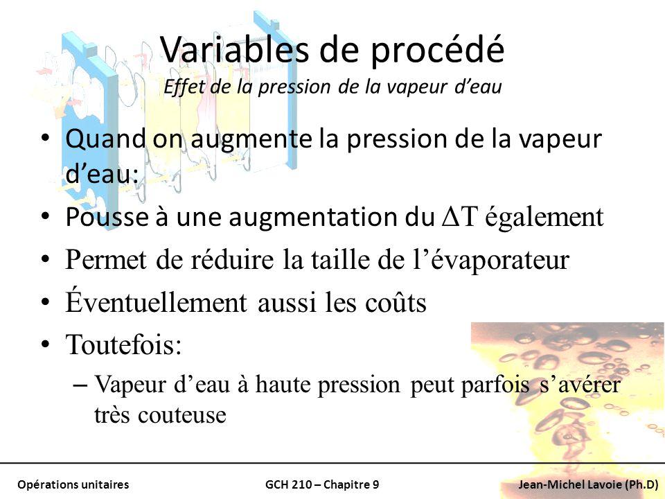 Opérations unitairesGCH 210 – Chapitre 9Jean-Michel Lavoie (Ph.D) Variables de procédé Effet de la pression de la vapeur deau Quand on augmente la pre