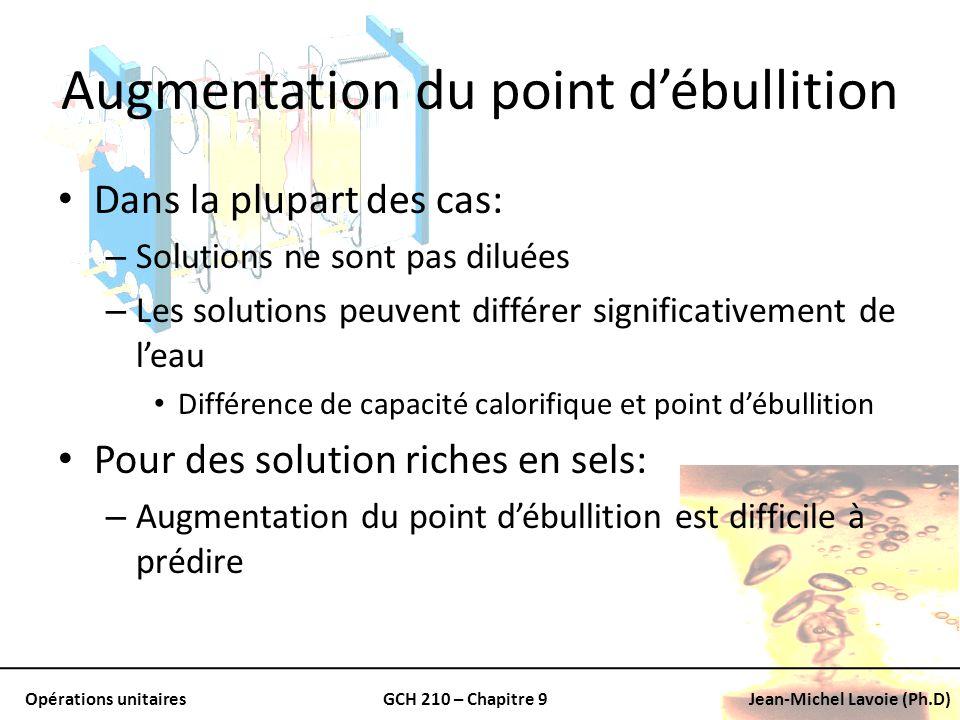 Opérations unitairesGCH 210 – Chapitre 9Jean-Michel Lavoie (Ph.D) Augmentation du point débullition Dans la plupart des cas: – Solutions ne sont pas d