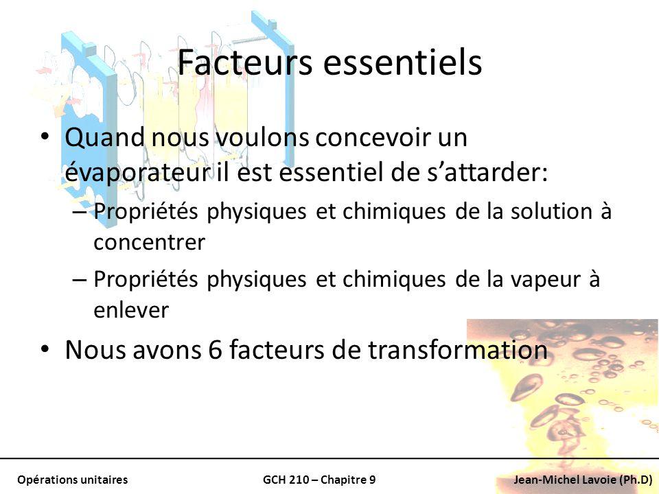 Opérations unitairesGCH 210 – Chapitre 9Jean-Michel Lavoie (Ph.D) Facteurs essentiels Quand nous voulons concevoir un évaporateur il est essentiel de