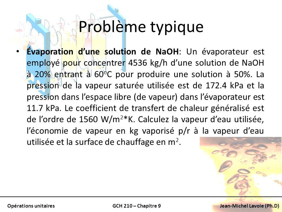 Opérations unitairesGCH 210 – Chapitre 9Jean-Michel Lavoie (Ph.D) Problème typique Évaporation dune solution de NaOH: Un évaporateur est employé pour