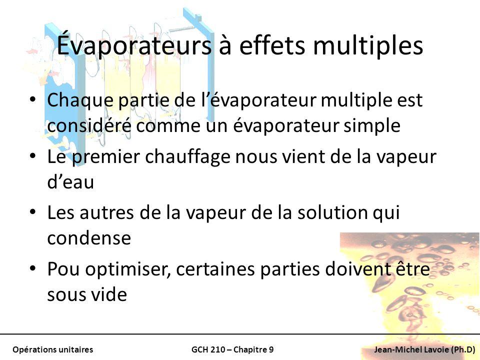 Opérations unitairesGCH 210 – Chapitre 9Jean-Michel Lavoie (Ph.D) Évaporateurs à effets multiples Chaque partie de lévaporateur multiple est considéré