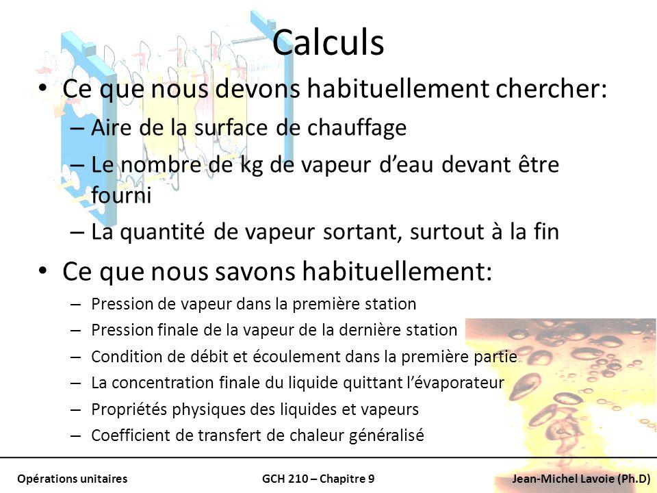 Opérations unitairesGCH 210 – Chapitre 9Jean-Michel Lavoie (Ph.D) Calculs Ce que nous devons habituellement chercher: – Aire de la surface de chauffag