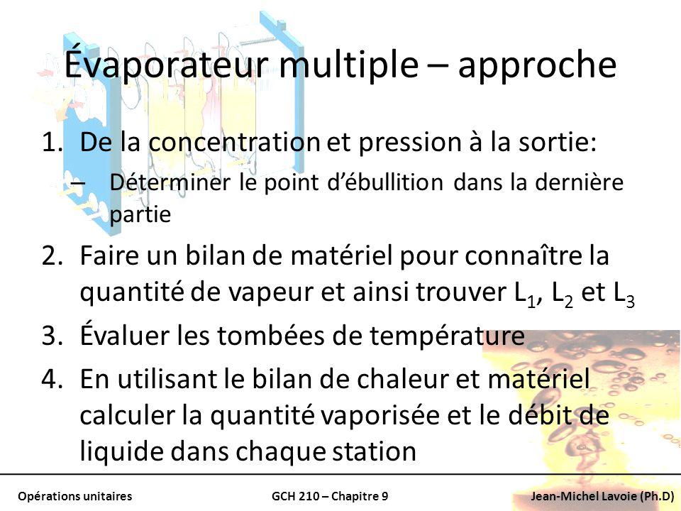 Opérations unitairesGCH 210 – Chapitre 9Jean-Michel Lavoie (Ph.D) Évaporateur multiple – approche 1.De la concentration et pression à la sortie: – Dét