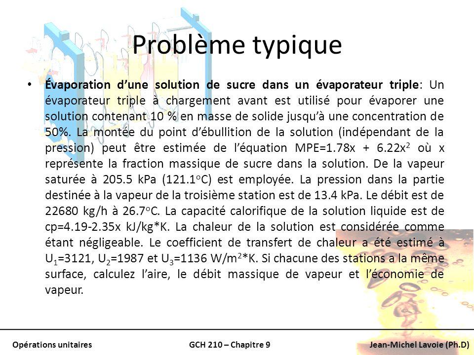 Opérations unitairesGCH 210 – Chapitre 9Jean-Michel Lavoie (Ph.D) Problème typique Évaporation dune solution de sucre dans un évaporateur triple: Un é