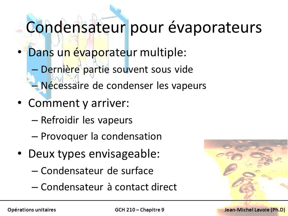 Opérations unitairesGCH 210 – Chapitre 9Jean-Michel Lavoie (Ph.D) Condensateur pour évaporateurs Dans un évaporateur multiple: – Dernière partie souve