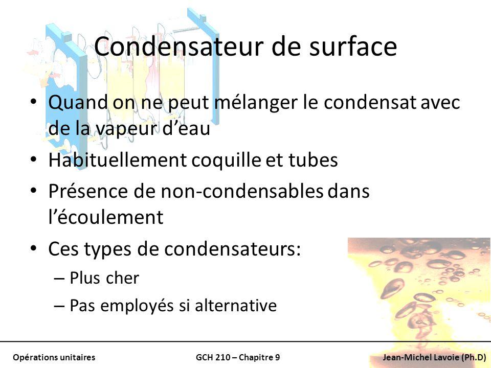 Opérations unitairesGCH 210 – Chapitre 9Jean-Michel Lavoie (Ph.D) Condensateur de surface Quand on ne peut mélanger le condensat avec de la vapeur dea