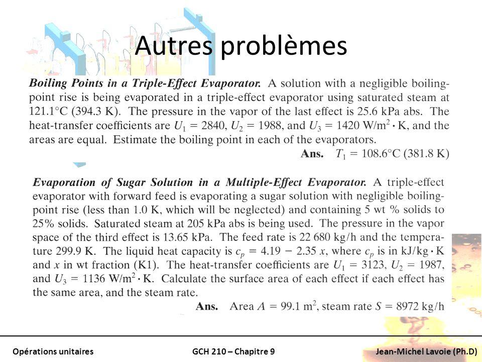 Opérations unitairesGCH 210 – Chapitre 9Jean-Michel Lavoie (Ph.D) Autres problèmes