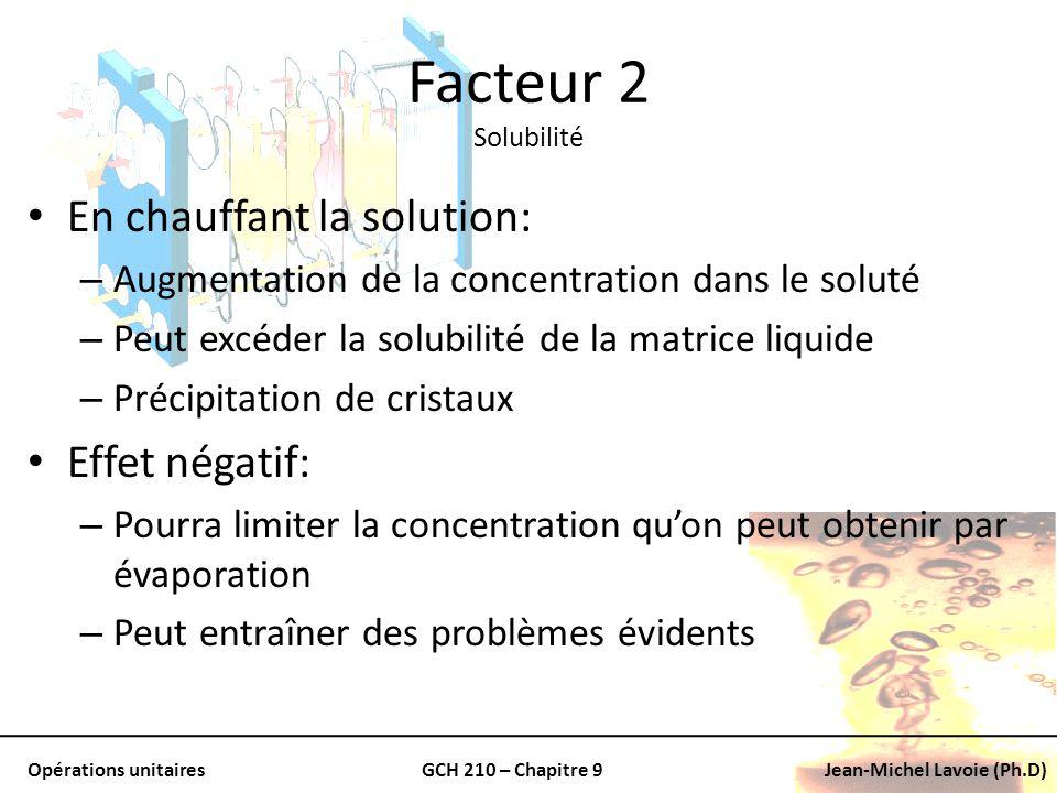 Opérations unitairesGCH 210 – Chapitre 9Jean-Michel Lavoie (Ph.D) Facteur 2 Solubilité En chauffant la solution: – Augmentation de la concentration da