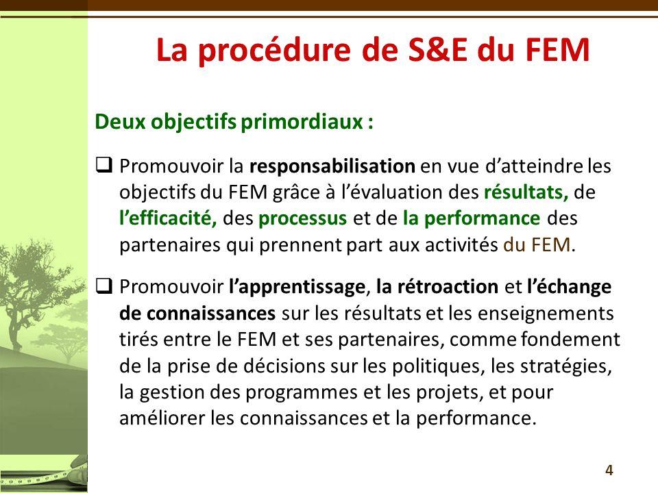 Deux objectifs primordiaux : Promouvoir la responsabilisation en vue datteindre les objectifs du FEM grâce à lévaluation des résultats, de lefficacité, des processus et de la performance des partenaires qui prennent part aux activités du FEM.