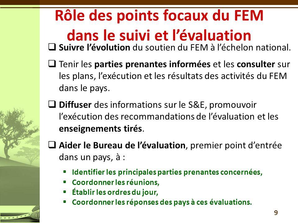 10 La direction doit répondre à tous les rapports dévaluation que le Bureau de lévaluation du FEM présente au Conseil du FEM Le Conseil du FEM tient compte de lévaluation et de la réponse de la direction pour prendre une décision Le Bureau de lévaluation du FEM présente un rapport annuel sur la suite donnée aux décisions (Relevé d interventions de la direction) Dans le cas des évaluations de portefeuille-pays, ceux-ci ont la possibilité dexposer également leur point de vue au Conseil