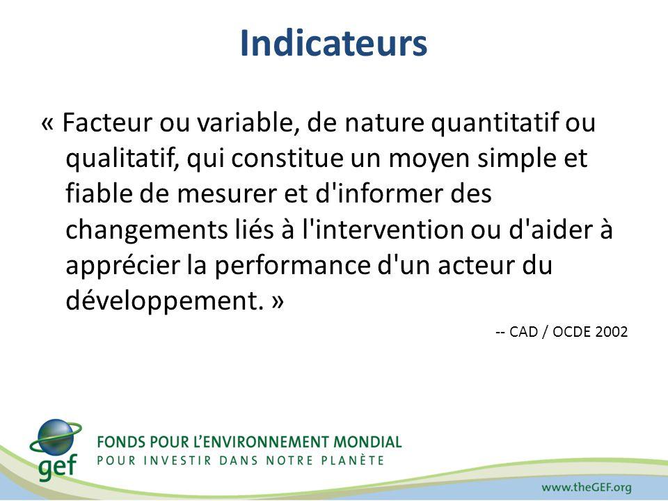 Indicateurs « Facteur ou variable, de nature quantitatif ou qualitatif, qui constitue un moyen simple et fiable de mesurer et d informer des changements liés à l intervention ou d aider à apprécier la performance d un acteur du développement.