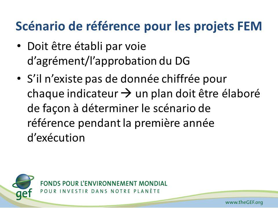 Scénario de référence pour les projets FEM Doit être établi par voie dagrément/lapprobation du DG Sil nexiste pas de donnée chiffrée pour chaque indicateur un plan doit être élaboré de façon à déterminer le scénario de référence pendant la première année dexécution