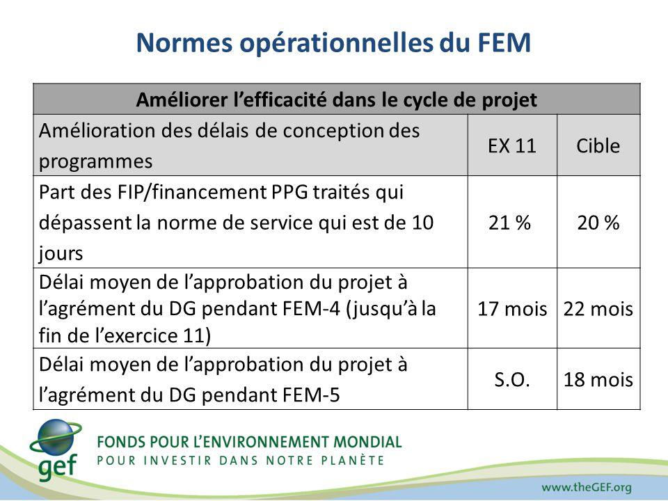 Normes opérationnelles du FEM Améliorer lefficacité dans le cycle de projet Amélioration des délais de conception des programmes EX 11Cible Part des FIP/financement PPG traités qui dépassent la norme de service qui est de 10 jours 21 % 20 % Délai moyen de lapprobation du projet à lagrément du DG pendant FEM-4 (jusquà la fin de lexercice 11) 17 mois22 mois Délai moyen de lapprobation du projet à lagrément du DG pendant FEM-5 S.O.18 mois