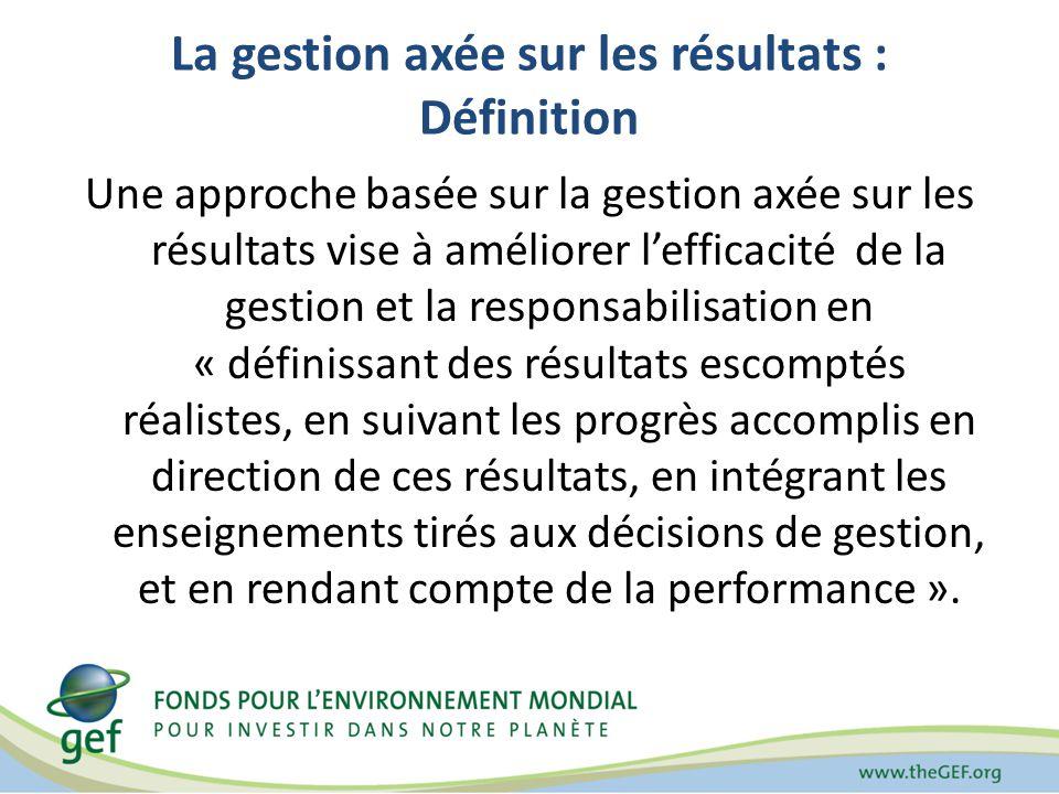 La gestion axée sur les résultats : Définition Une approche basée sur la gestion axée sur les résultats vise à améliorer lefficacité de la gestion et