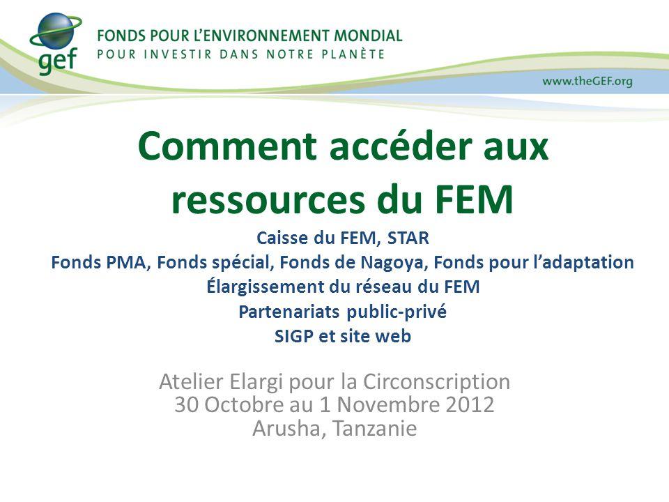 Atelier Elargi pour la Circonscription 30 Octobre au 1 Novembre 2012 Arusha, Tanzanie Comment accéder aux ressources du FEM Caisse du FEM, STAR Fonds