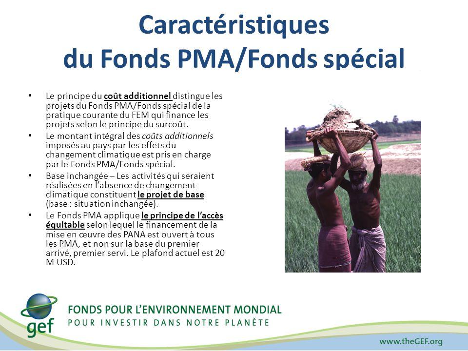 Caractéristiques du Fonds PMA/Fonds spécial Le principe du coût additionnel distingue les projets du Fonds PMA/Fonds spécial de la pratique courante du FEM qui finance les projets selon le principe du surcoût.