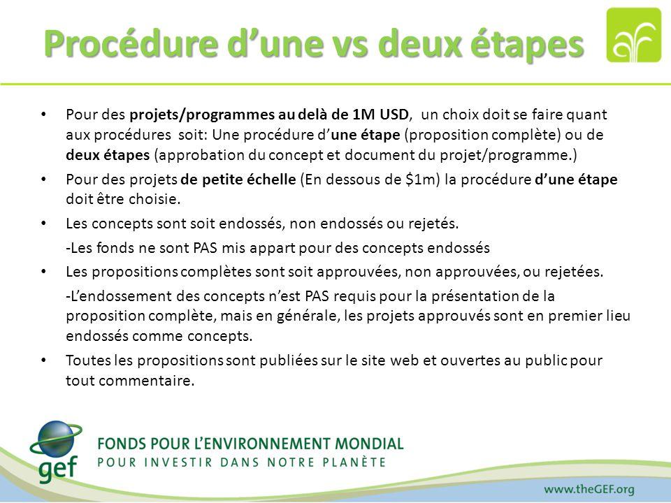 Procédure dune vs deux étapes Pour des projets/programmes au delà de 1M USD, un choix doit se faire quant aux procédures soit: Une procédure dune étape (proposition complète) ou de deux étapes (approbation du concept et document du projet/programme.) Pour des projets de petite échelle (En dessous de $1m) la procédure dune étape doit être choisie.