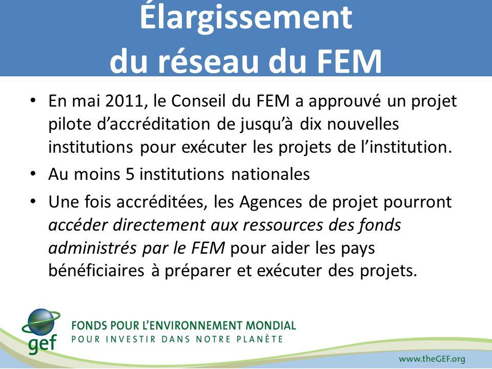 En mai 2011, le Conseil du FEM a approuvé un projet pilote daccréditation de jusquà dix nouvelles institutions pour exécuter les projets de linstitution.