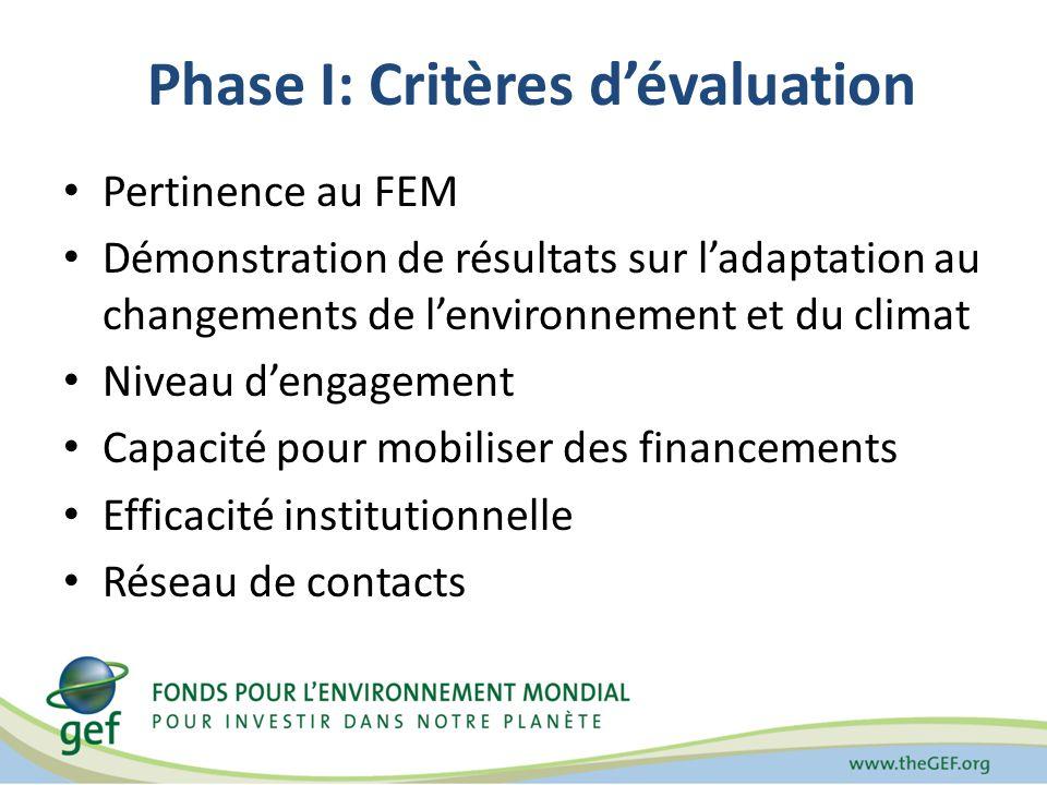 Phase I: Critères dévaluation Pertinence au FEM Démonstration de résultats sur ladaptation au changements de lenvironnement et du climat Niveau dengagement Capacité pour mobiliser des financements Efficacité institutionnelle Réseau de contacts