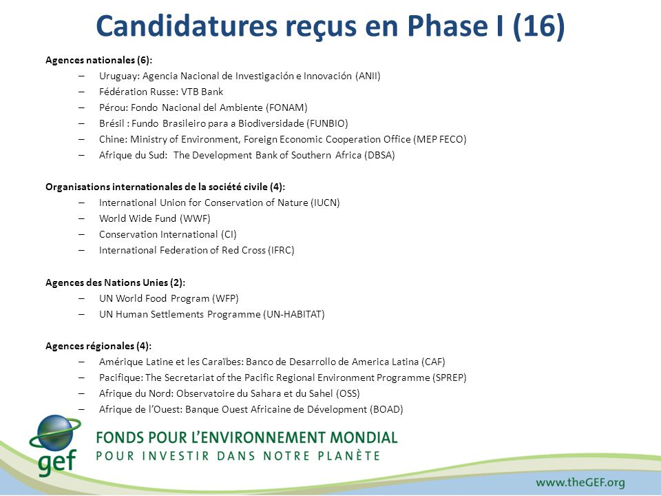 Candidatures reçus en Phase I (16) Agences nationales (6): – Uruguay: Agencia Nacional de Investigación e Innovación (ANII) – Fédération Russe: VTB Bank – Pérou: Fondo Nacional del Ambiente (FONAM) – Brésil : Fundo Brasileiro para a Biodiversidade (FUNBIO) – Chine: Ministry of Environment, Foreign Economic Cooperation Office (MEP FECO) – Afrique du Sud: The Development Bank of Southern Africa (DBSA) Organisations internationales de la société civile (4): – International Union for Conservation of Nature (IUCN) – World Wide Fund (WWF) – Conservation International (CI) – International Federation of Red Cross (IFRC) Agences des Nations Unies (2): – UN World Food Program (WFP) – UN Human Settlements Programme (UN-HABITAT) Agences régionales (4): – Amérique Latine et les Caraïbes: Banco de Desarrollo de America Latina (CAF) – Pacifique: The Secretariat of the Pacific Regional Environment Programme (SPREP) – Afrique du Nord: Observatoire du Sahara et du Sahel (OSS) – Afrique de lOuest: Banque Ouest Africaine de Dévelopment (BOAD)