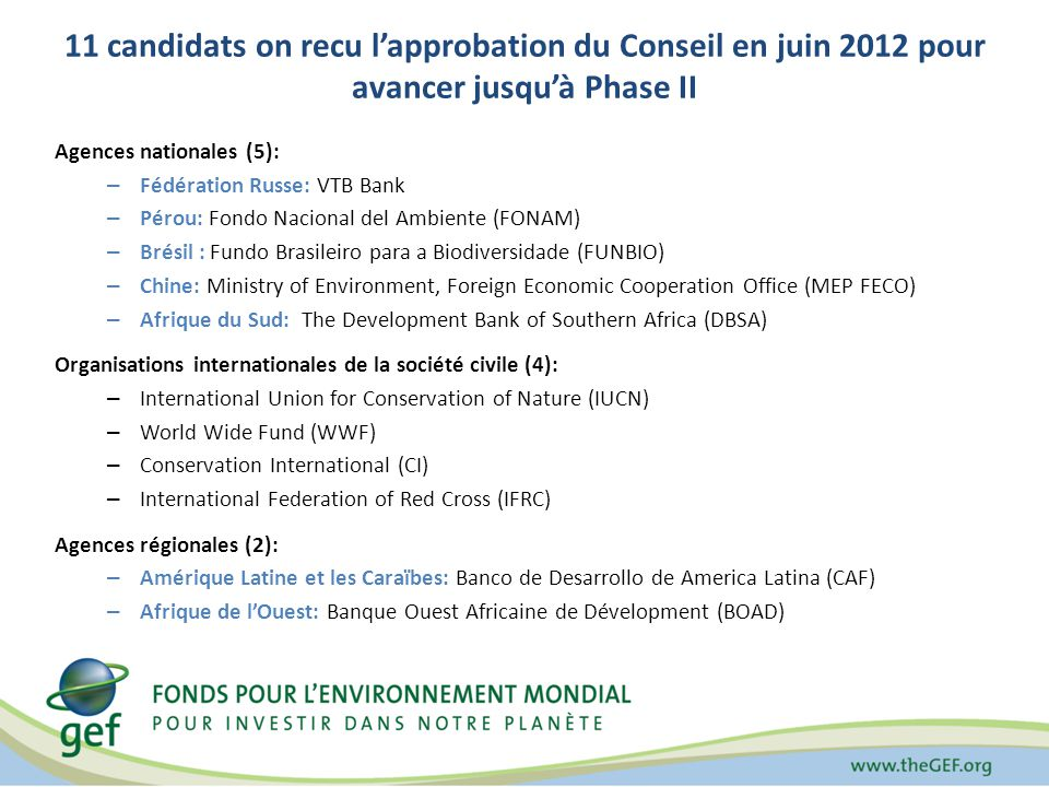 11 candidats on recu lapprobation du Conseil en juin 2012 pour avancer jusquà Phase II Agences nationales (5): – Fédération Russe: VTB Bank – Pérou: Fondo Nacional del Ambiente (FONAM) – Brésil : Fundo Brasileiro para a Biodiversidade (FUNBIO) – Chine: Ministry of Environment, Foreign Economic Cooperation Office (MEP FECO) – Afrique du Sud: The Development Bank of Southern Africa (DBSA) Organisations internationales de la société civile (4): – International Union for Conservation of Nature (IUCN) – World Wide Fund (WWF) – Conservation International (CI) – International Federation of Red Cross (IFRC) Agences régionales (2): – Amérique Latine et les Caraïbes: Banco de Desarrollo de America Latina (CAF) – Afrique de lOuest: Banque Ouest Africaine de Dévelopment (BOAD)