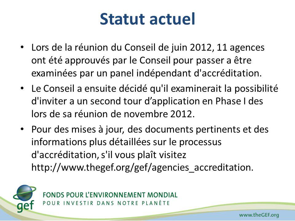Statut actuel Lors de la réunion du Conseil de juin 2012, 11 agences ont été approuvés par le Conseil pour passer a être examinées par un panel indépendant d accréditation.