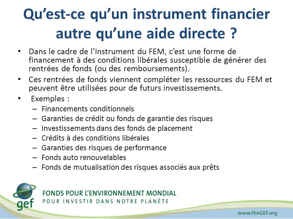 Quest-ce quun instrument financier autre quune aide directe ? Dans le cadre de lInstrument du FEM, cest une forme de financement à des conditions libé