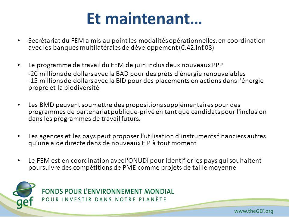 Et maintenant… Secrétariat du FEM a mis au point les modalités opérationnelles, en coordination avec les banques multilatérales de développement (C.42.Inf.08) Le programme de travail du FEM de juin inclus deux nouveaux PPP -20 millions de dollars avec la BAD pour des prêts d énergie renouvelables -15 millions de dollars avec la BID pour des placements en actions dans l énergie propre et la biodiversité Les BMD peuvent soumettre des propositions supplémentaires pour des programmes de partenariat publique-privé en tant que candidats pour l inclusion dans les programmes de travail futurs.