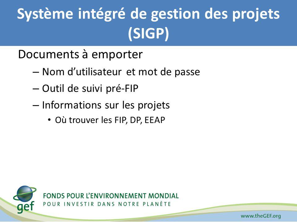 Système intégré de gestion des projets (SIGP) Documents à emporter – Nom dutilisateur et mot de passe – Outil de suivi pré-FIP – Informations sur les projets Où trouver les FIP, DP, EEAP