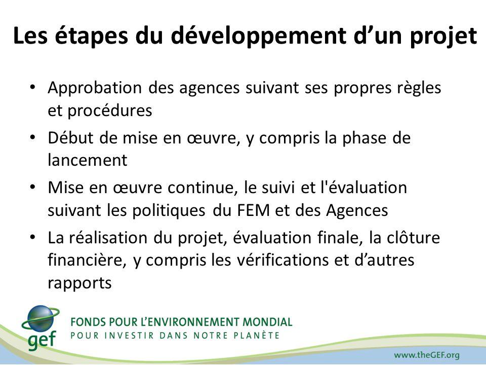 Les étapes du développement dun projet Approbation des agences suivant ses propres règles et procédures Début de mise en œuvre, y compris la phase de