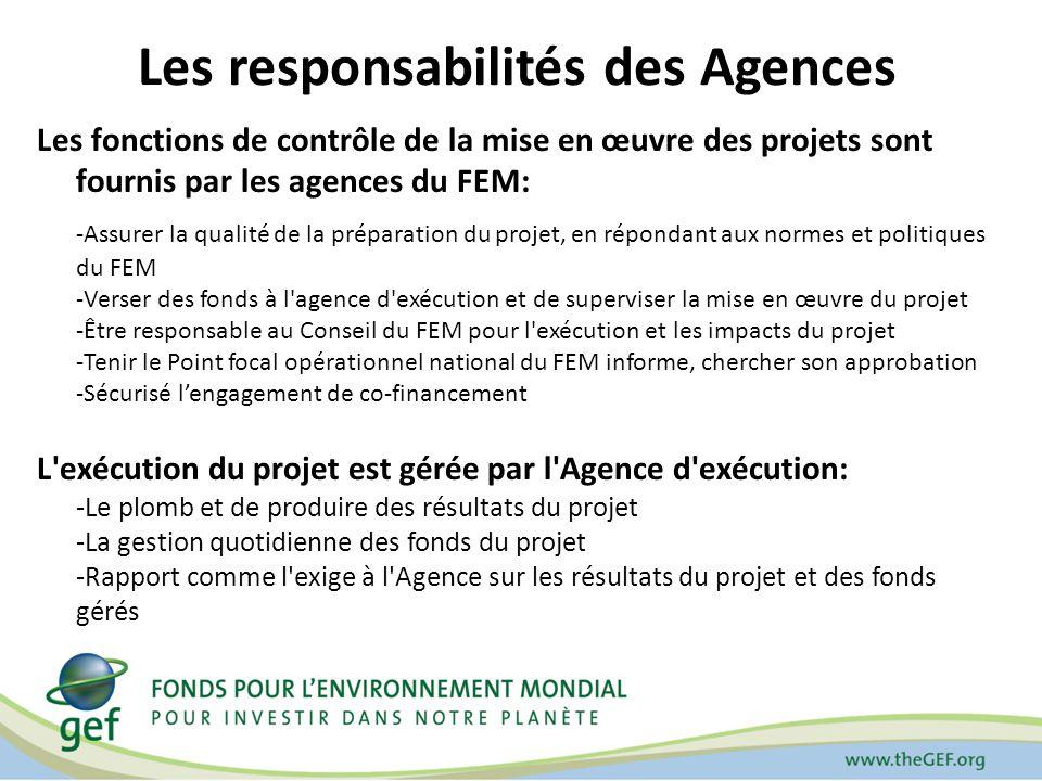 Les responsabilités des Agences Les fonctions de contrôle de la mise en œuvre des projets sont fournis par les agences du FEM: -Assurer la qualité de