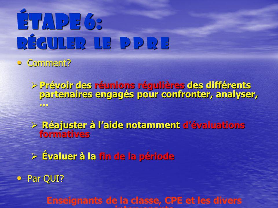 Étape 6: Réguler le P P R E Comment? Comment? Prévoir des réunions régulières des différents partenaires engagés pour confronter, analyser, … Prévoir