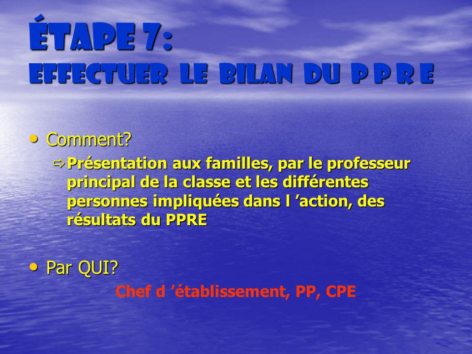Étape 7: Effectuer le bilan du P P R E Comment? Comment? Présentation aux familles, par le professeur principal de la classe et les différentes person