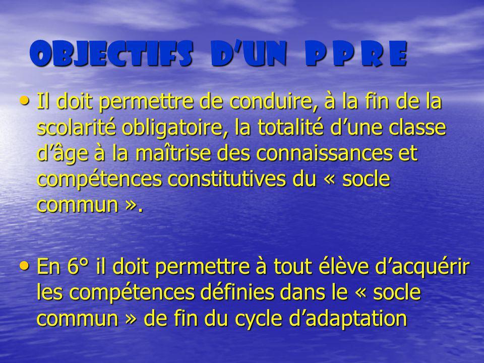 Objectifs dun P P R E Objectifs dun P P R E Il doit permettre de conduire, à la fin de la scolarité obligatoire, la totalité dune classe dâge à la maî