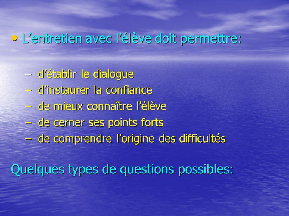 Lentretien avec lélève doit permettre: Lentretien avec lélève doit permettre: – détablir le dialogue – dinstaurer la confiance – de mieux connaître lé