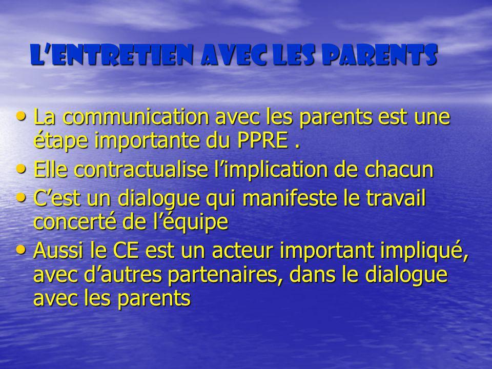 Lentretien avec les parents La communication avec les parents est une étape importante du PPRE. La communication avec les parents est une étape import
