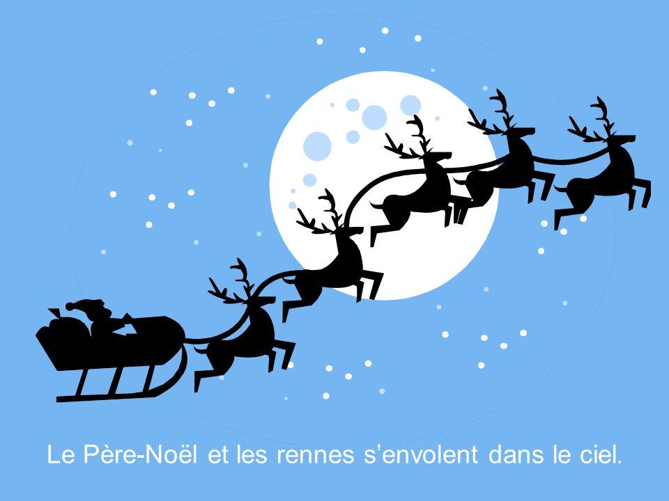 Le Père-Noël trouve enfin ses nombreux rennes. Voulant jouer un tour au Père-Noël, ils sétaient cachés sous la neige.