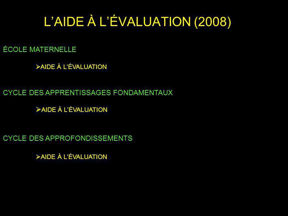 LAIDE À LÉVALUATION (2008) ÉCOLE MATERNELLE AIDE À LÉVALUATION CYCLE DES APPRENTISSAGES FONDAMENTAUX AIDE À LÉVALUATION CYCLE DES APPROFONDISSEMENTS AIDE À LÉVALUATION