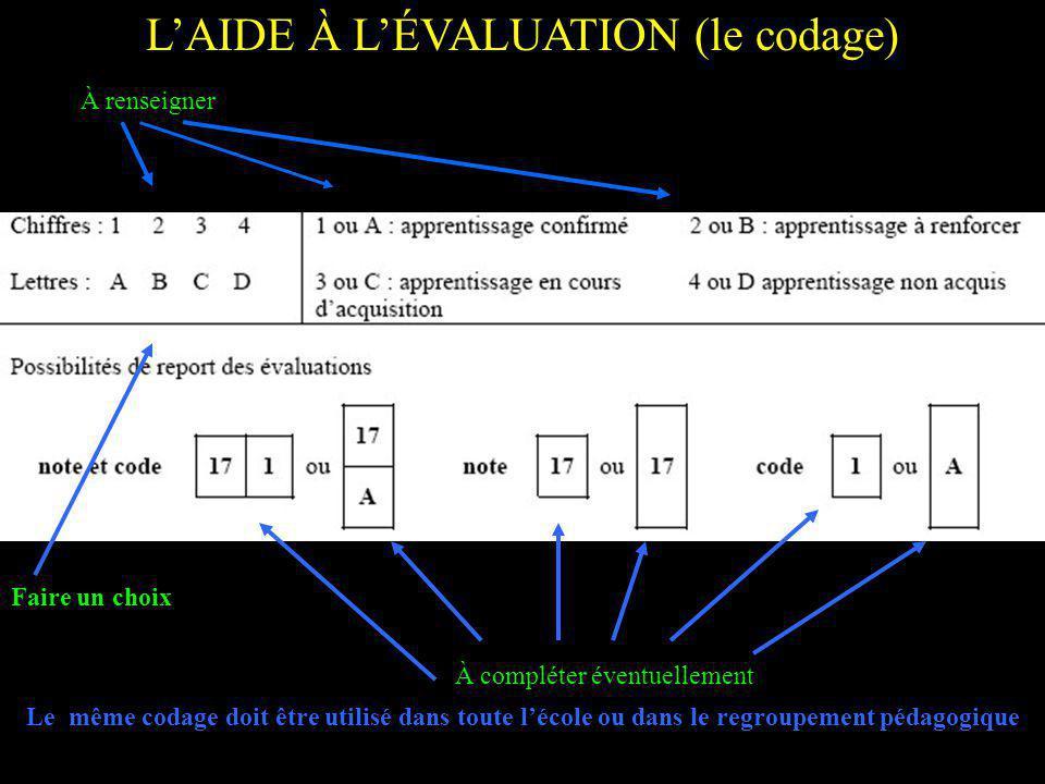 LAIDE À LÉVALUATION (le codage) Le même codage doit être utilisé dans toute lécole ou dans le regroupement pédagogique À renseigner Faire un choix À compléter éventuellement