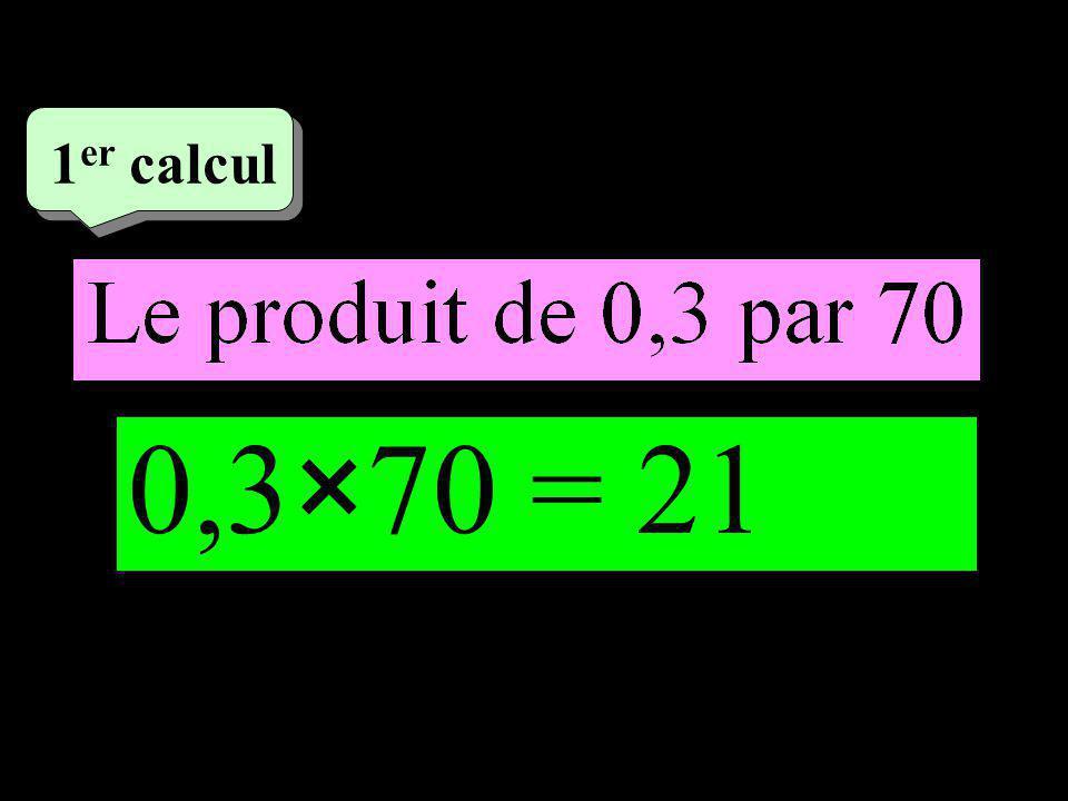 –1–1 1 er calcul 0,3×70 = 21