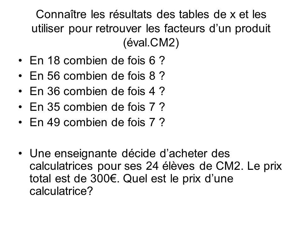 Connaître les résultats des tables de x et les utiliser pour retrouver les facteurs dun produit (éval.CM2) En 18 combien de fois 6 .