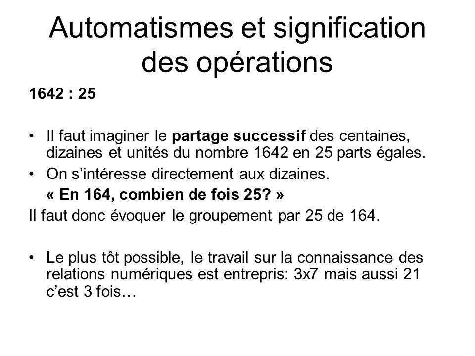 Automatismes et signification des opérations 1642 : 25 Il faut imaginer le partage successif des centaines, dizaines et unités du nombre 1642 en 25 parts égales.