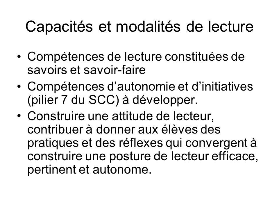 Capacités et modalités de lecture Compétences de lecture constituées de savoirs et savoir-faire Compétences dautonomie et dinitiatives (pilier 7 du SCC) à développer.